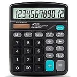 MPTECK @ Calcolatrice Funzione Standard Tavolo Calcolatrice 12 cifre ampio display elettronico Disegno Compatto Funzione Portatile calcolatrice solare e batteria AA Dual Power nero per ufficio scuola