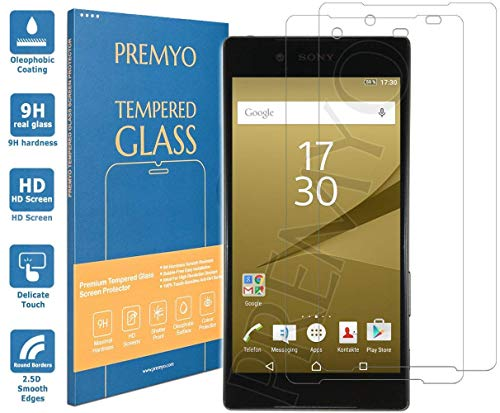 PREMYO 2 Stück Panzerglas Schutzglas Bildschirmschutzfolie Folie kompatibel für Sony Xperia Z5 Premium Blasenfrei HD-Klar Gegen Kratzer Fingerabdrücke