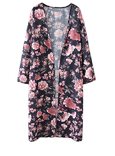 Abollria Damen Kimono Cardigan Chiffon Sommerkleid Floral Print Knielang Beach Cover up Leicht Tuch für die Sommermonate am Strand oder See (L, Dunkelblau) (Floral Print-shirt)