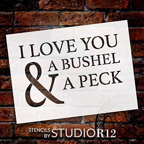 Se556th I Love You A Bushel A Peck Schablone von StudioR, wiederverwendbar, Mylar-Vorlage zum Bemalen von Holzschildern, Paletten, Kissen, DIY Love