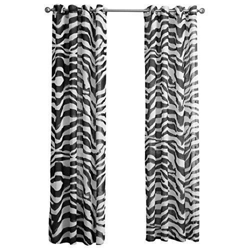 URIJK Transparent Gardine Zebra Muster Vorhang Volie Volievorhang Schal Fenstervorhang Fenster Dekoration Ösenschal mit Ösen für Wohnzimmer Schlafzimmer(1 Stück)