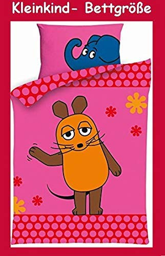 Aminata Kids - Kinder-Bettwäsche 100-x-135 cm Lizenz Baby-Bettwäsche Sendung mit der Maus-Motiv Elefant Ente Blauer Elefant 100-% Baumwolle rosa pink