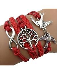 Infinity Bijoux - Pulsera infinito árbol de la vida y paloma / eternidad / one direction / love - rojo/ plateado