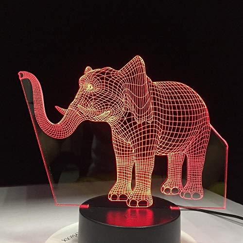 XXXCH Lucky Elephant 7 Farbwechsel Nachtlicht Led 3D Tischlampe Schlafzimmer Schlaf Licht Wohnkultur Kunst Dekoration Kinder Geschenk Gx1075