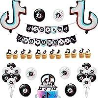 40 Pieces Tik Tok Party Supplies,Tik Tok Birthday Party Banner,Tik Tok Balloons,Tik Tok Cake Topper Suitable for Boy and Girl Short Film Party Decoration