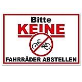 Hinweis-Aufkleber Bitte keine Fahrräder abstellen I 15 x 10 cm I Fahrrad anlehnen oder anketten verboten I Warnhinweis für Fahrradfahrer I wetterfest
