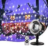 MeeQee Schneefall-Projektor-Lichter, Weihnachts-LED Schneeflocke-Projektor-Show im Freien mit drahtloser Direktübertragung, drehende Projektions-Schneeflocke-Lampe für Weihnachtsim freiendekorationen