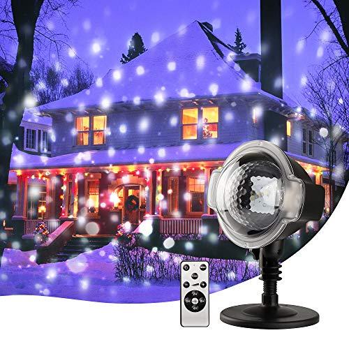 MeeQee Proiettore a Luci di Neve, Proiettore da Esterno a LED di Natale a LED con Telecomando Senza Fili, Lampada Rotante a Proiezione di Fiocchi di Neve per Decorazioni Natalizie All'Aperto