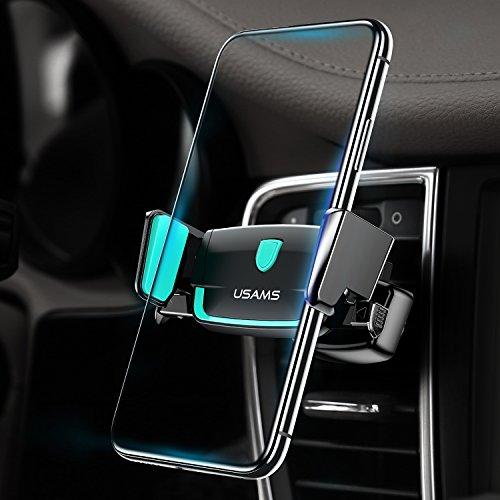 Handyhalter fürs Auto Lüftung Handyhalterung USAMS, KFZ Halterung Handy Halter Lüftungsgitter Universal 360 Grad drehbar Lüftungsschlitz Autohalterung für Apple iPhone X 8 7 6s 6 Plus, Samsung Galaxy bis 6 Zoll Smartphone (Schwarz)