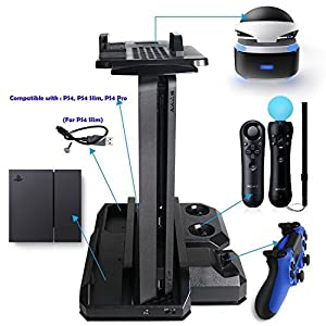 QUMOX Multifunktionaler PS Showcase Charge Stand & Daumengriff Stick Abdeckungen für PS4 & PS4 Slim & PS4 Pro & PS VR