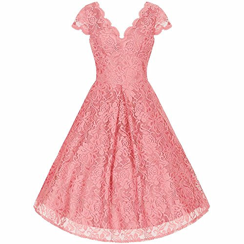 Pretty Kitty Fashion Damen Cocktail Kleid rosa rose Gr. X-Large, rose (Pin Wiggle Kleid)