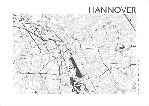 Poster 30 x 21 cm: Stadtplan von Hannover von 44spaces - hochwertiger Kunstdruck, neues Kunstposter
