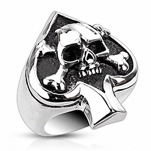 Kreuz Edelstahl Aus Ringe Skull (Mianova Herren Ring Edelstahl Massiv Breit Herrenring Männer Biker Rocker Schmuck Silber Poliert Totenkopf Pik Ass Größe 62 (19.7))
