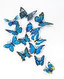 MissBirdler 24 Stk. Schmetterlinge Blau 3D Effekt Kühlschrank Schmetterlingsflügel Magnet mit Klebepunkten Wandtattoo Wand Dekoration Wohnzimmer Kinderzimmer Deko Sticker