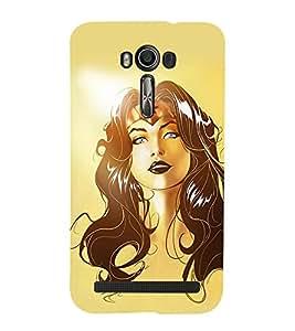 Takkloo girl cartoon ( girl with black long hair, skinny background, hot girl cartoon) Printed Designer Back Case Cover for Asus Zenfone 2 Laser ZE601KL (6 Inches)