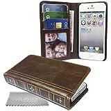 Stylebitz / étui classique en cuir PU pour iPhone 5s / 5, vintage, rétro (marron)
