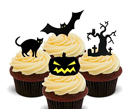 ten – Essbare Cupcake Topper – Halloween Standup Wafer Kuchen Dekorationen, 12er-Pack (Friedhof Halloween Dekoration Ideen)