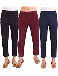 Heena Collection S R Fashion Mart Women's Slim Fit Spandex Check Pattern Pant Trouser Jeggings (Black, Blue, Maroon, Free Size) -Combo Pack of 3