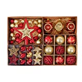 Valery Madelyn 70 Pcs 30-100mm Luxury Red Gold Shatterproof Christmas Baubles Tree Ball Decorations, Metal Hooks Included, Themed with Tree Skirt (Not Included)