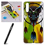 Huawei P20 Case, Huawei P20 Gel Case, Slynmax Luminous Effect Noctilucent Green Glow in the Dark Transparent Gel Case Crystal Clear Ultra Slim Fit Lightweight Embossed An Owl Design Shock Absorber Flexible TPU Soft Shockproof Protective Bumper Back Smart Shell Case for Huawei P20 + 1 * Stylus Touch Pen