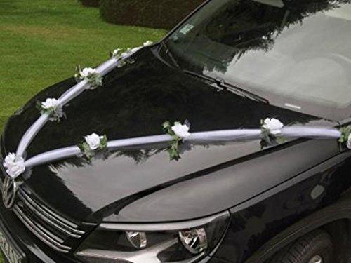 PKW Dekoration Autodekoration Girlande mit Tüll und Rosen weiss 1,70m (Motorhaube Befestigt)