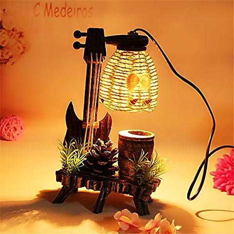 Stimmung Lampe Beleuchtung Dekorative Lampe pastoralen Stil Retro Holz Schlafzimmer Nachttischlampe Kiefer Dekoration aus hellem Holz Ornamente, (I) ,26 * 15 Cm