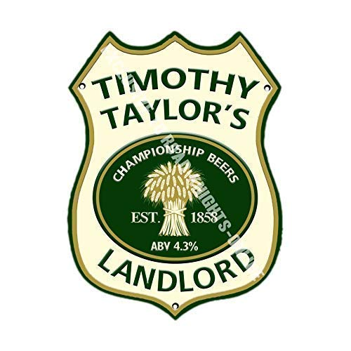 Timothy Taylor Landlord Bier Werbe Bar, Alte Pub Drink Pumpe Abzeichen Brewery Fass Fass Fassbier Real Ale Pint Alkohol Hops Form Metall/Stahl Wandschild - 27 x 20 cm