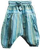 Shopoholic - Pantalones holgados para niños, estilo hippie retro, multicolor turquesa...