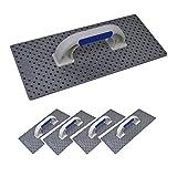 5er Set DEWEPRO® WDVS Kunststoff Schleifbrett mit offenen Kunststoff-Kronen - Größe: 365x165mm - Reibebrett - Kratzbrett - Egalisierungsbrett - Handschleifer