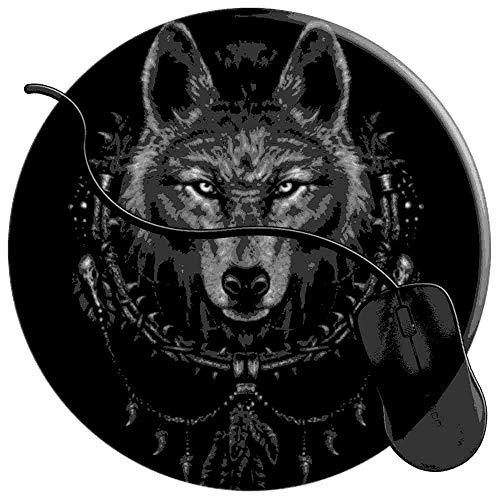 QCFW Alfombrilla de Ratón Nativo Americano Lobo Indio atrapasueños Alfombrilla de Ratón Ordenador Gaming Superficie Suave 2T3754