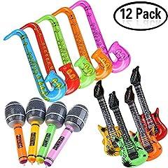 Idea Regalo - Yojoloin 1230/5000 12 PZ Gonfiabili Chitarra Sassofono Microfono Palloncini Strumenti Musicali Accessori per Feste Forniture per Feste Palloncini Colore Casuale (12 PZ)