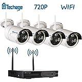 techage WiFi Sistema de seguridad CCTV Sistema de cámara inalámbrica al aire libre/interior, 4CH 720P 1.0MP impermeable cámara IP, 65ft Visión Nocturna, Plug & Play, Hogar Seguridad überwachungsinstallationssätze, sin disco duro