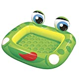 Jilong Frog Pool 128x110x23 cm Kinderpool mit aufblasbarem Boden Planschbecken mit Sicherheitsboden Schwimmbad im Frosch Design Kinder Schwimmbecken für Garten und Terasse
