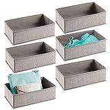 mDesign Set da 6 Scatole per armadio e cassetti – Comode scatole portaoggetti in tessuto – Flessibili portagiochi – grigio