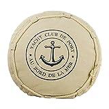 osters muschel-sammler-shop Maritimes Deko-Kissen Rund in Beige mit Kordel und Ankermotiv Durchmesser 40 cm -Das Zier-und Kuschelkissen für Drinnen und Draußen für Gemütliche Stunden