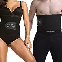 Cinturón de Neopreno para el Sudor, Fajas Reductoras Adelgazante Abdominal Sudor de Cinturón Ajustable para Mujer y Hombre, Corrector de Postura Negro