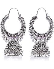 YouBella Fancy Party Wear Jewellery Afghani Kashmiri Jhumka Oxidized Silver Earrings for Girls and Women
