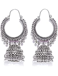 YouBella Fancy Party Wear Jewellery Afghani Kashmiri Jhumka Oxidized Silver Earrings for Girls and Women