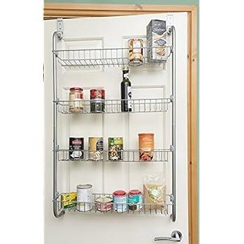 direct online housewar 4tier over door hanging rackshelves for pantry or storage cupboard grey