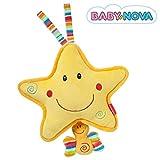 Baby-Nova Spieluhr Stern, Einschlafhilfe für Babys, Musikspieluhr Weißt du wieviel Sternlein stehen, Schlafhilfe zum Aufhängen – weitere Melodien & Motive verfügbar