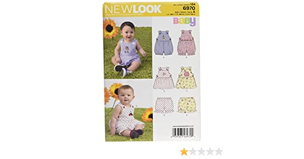 Size A Dress and Panties NB-S-M-L New Look Sewing Pattern 6970 Babies Romper