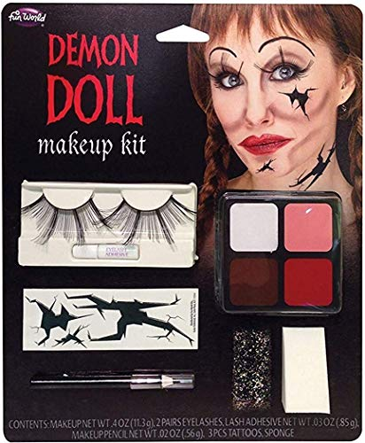 Ausgefallenes Halloween Horror Thema Party Spezialeffekt Unheimliche Gesicht & Eye Make-up Kit - Demon Puppe, One size