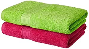 Amazon Brand - Solimo 100% Cotton 2 Piece Bath Towel Set, 500 GSM (Spring Green and Paradise Pink)