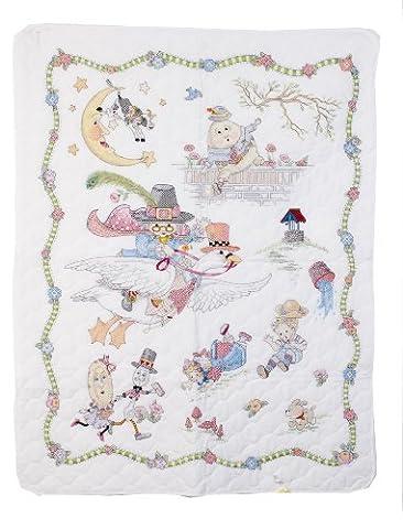 Bucilla 34 x 43-inch Mary Engelbreit Mother Goose Crib Cover Stamped Cross Stitch