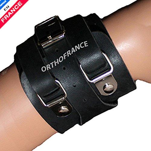 Serre poignet cuir - Poignet de force cuir ORTHOFRANCE pour poignet de - 17 cm