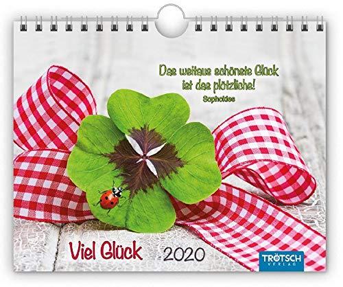 """Notizkalender """"Viel Glück"""" 2020: 20 x 16 cm, mit Postkarten und Sprüchen"""