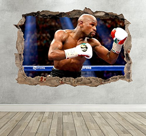 3D Floyd Mayweather Jr Boxing Smashed Breakout Wall Sticker Boys Bedroom - Extra Large Landscape 100cm (w) X 70cm (h)