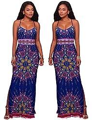 Gaoxu Europa y los Estados Unidos las mujeres está agrandado yardas, elastico en la cintura, faldas largas, impresion digital, moda vestido de viento, Big Swing,Azul,M