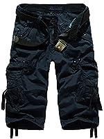 Mochoose Men's Summer Casual Cotton Twill Cargo Shorts 3/4 Multi Pockets Outdoor Wear Pants(Dark Blue,31)