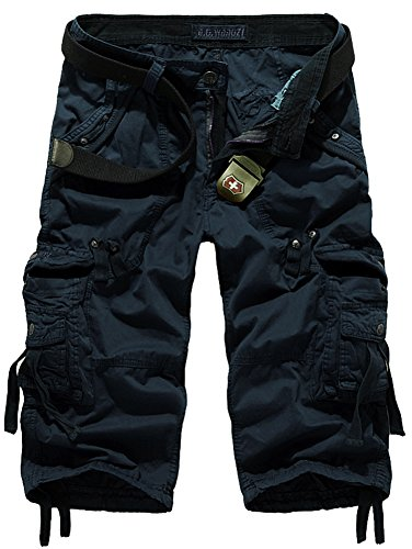 Mochoose Herren Sommer Casual Cotton Twill Cargo Shorts 3/4 Multi Taschen Outdoor tragen Hosen(Dunkelblau,36) (Multi-pocket-capri-hose)